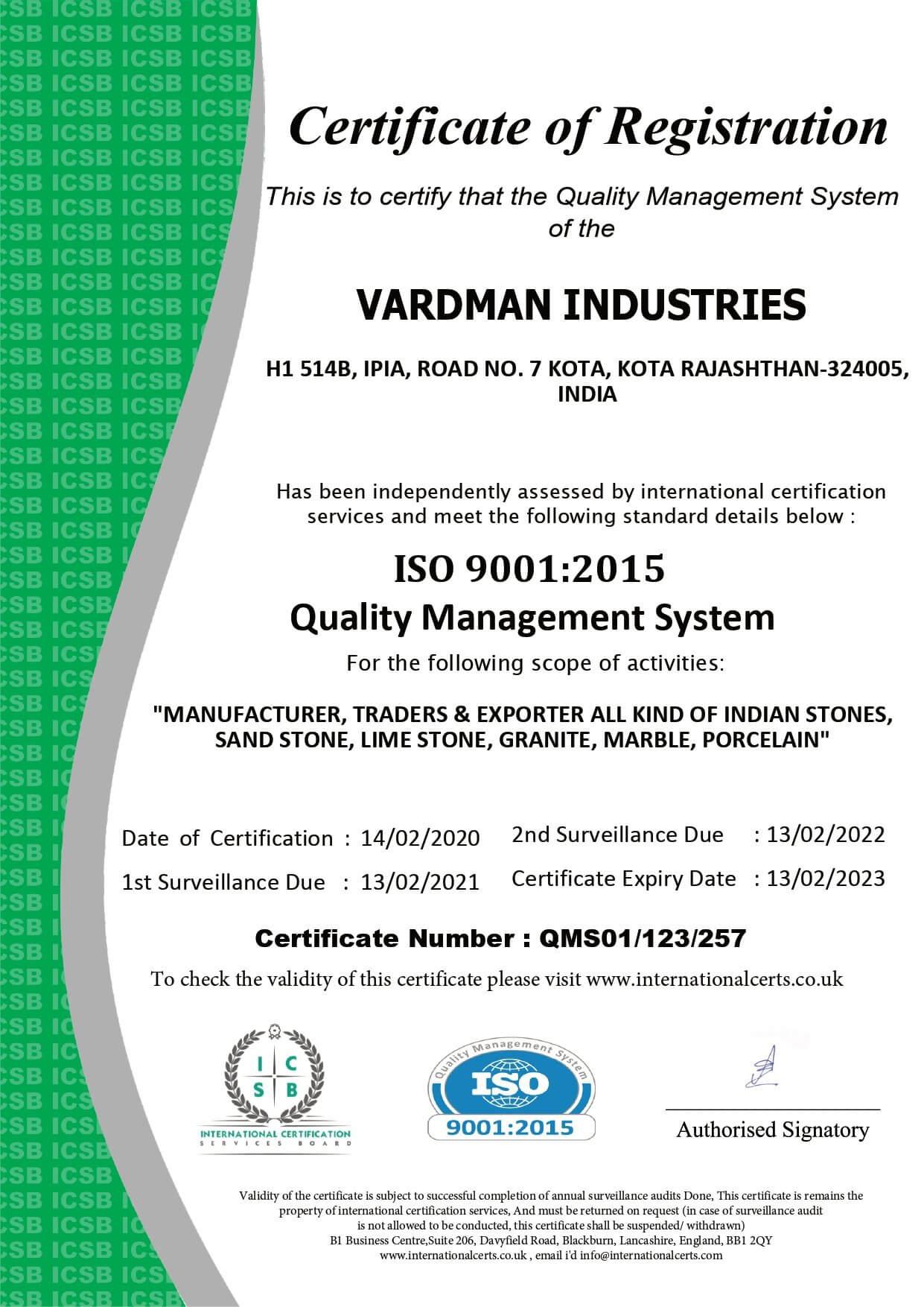 Certificate Vardman Industries