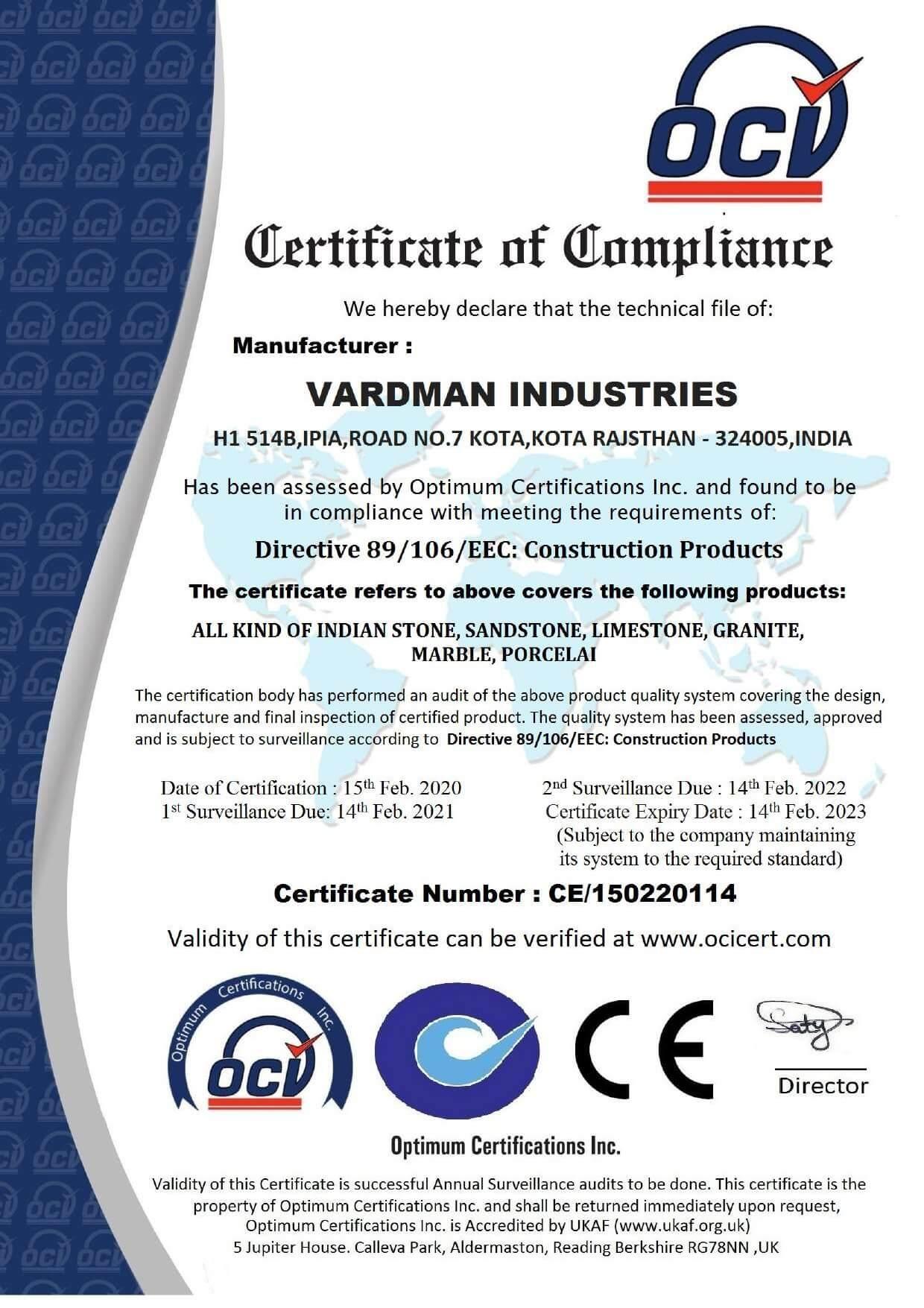 Certificate Vardman